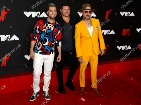 US Singers from (L-R) Lance Bass, Nick Lachey, and AJ McLean arrive on the red carpet for the MTV Video Music Awards at the Barclays Center in Brooklyn, New York, USA, 12 September 2021.