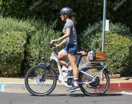 Jennifer Garner is seen bike riding with Samuel Affleck