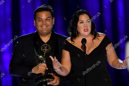 """Robert Lopez and Kristen Anderson-Lopez accept the Emmy for outstanding original music and lyrics for """"Agatha All Along"""" on the """"Breaking the Fourth Wall"""" episode of """"Wandavision""""during the third ceremony of the Television Academy's 2021 Creative Arts Emmy Awards at the L.A. LIVE Event Deck, in Los Angeles"""