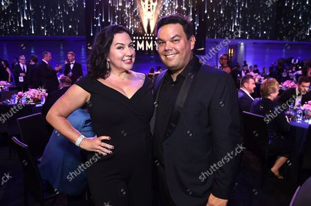 Stock Picture of Kristen Anderson-Lopez, left, and Robert Lopez attend the third ceremony of the Television Academy's 2021 Creative Arts Emmy Awards at the L.A. LIVE Event Deck, in Los Angeles