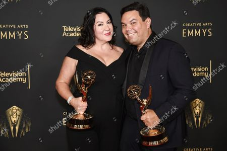 """Stock Image of Kristen Anderson-Lopez and Robert Lopez, winners of the Emmy for outstanding original music and lyrics for """"Agatha All Along"""" on the """"Breaking the Fourth Wall"""" episode of """"Wandavision"""" at the Media Center during the third ceremony of the Television Academy's 2021 Creative Arts Emmy Awards, in Los Angeles"""