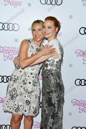 Producer Rachel Shane and Jessica Chastain attend 'The Eyes of Tammy Faye' - TIFF World Premiere - Cocktail Reception presented by Audi Canada during the Toronto International Film Festival in Toronto, September 12, 2021