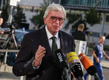 Minister-President of Hesse, Volker Bouffier, speaks as he arrives to the CDU headquarters before a CDU party chair meeting in Berlin, Germany, 13 September 2021.