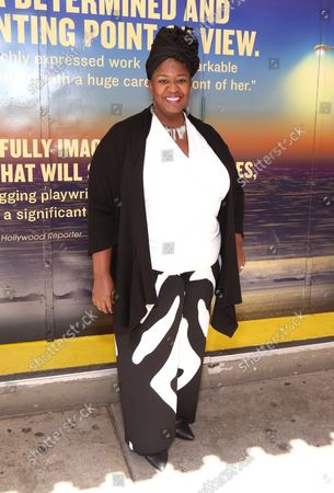 Stock Photo of NaTasha Yvette Williams arrives at the Broadway opening for Pass Over, held at the August Wilson Theatre, on September 12, 2021, in New York City.
