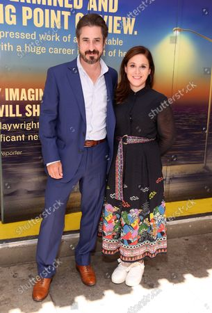 Stock Image of Matthew Saldivar and Sarna Lapine arrive at the Broadway opening for Pass Over, held at the August Wilson Theatre, on September 12, 2021, in New York City.
