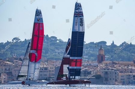 Japan SailGP Team helmed by Nathan Outterridge and Great Britain SailGP Team helmed by Ben Ainslie in action on Race Day 2. France SailGP, Event 5, Season 2 in Saint-Tropez, France. 12 September 2021. Photo: Bob Martin for SailGP. Handout image supplied by SailGP