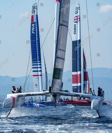 Japan SailGP Team helmed by Nathan Outterridge, France SailGP Team helmed by Billy Besson and Great Britain SailGP Team helmed by Ben Ainslie in action on Race Day 2. France SailGP, Event 5, Season 2 in Saint-Tropez, France. 12 September 2021. Photo: Bob Martin for SailGP. Handout image supplied by SailGP