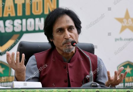 Ramiz Raja, newly elected Chairman of the Pakistan Cricket Board, gives a press conference, in Lahore, Pakistan, . Raja was elected unopposed Monday as the chairman of the Pakistan Cricket Board for three years. Last month, Prime Minister Imran Khan, in his role as patron of the PCB, nominated Raja to the governing board
