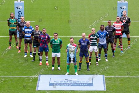 Stock Photo of Gallagher Premiership Season Launch 2021-22 Season - Representative Players, alphabetically by club: Bath Rugby - Sam Underhill,  Bristol Bears - Charles Piutau, Exeter Chiefs - Henry Slade, Gloucester Rugby - Lewis Ludlow, Harlequins - Danny Care (Front, centre), Leicester Tigers - Jack van Poortvliet, London Irish - Agustin Creevy, Newcastle Falcons - Nathan Earle, Northampton Saints - Lewis Ludlam, Sale Sharks -  Marland Yarde, Saracens - Alex Goode, Wasps - Joe Launchbury, Worcester Warriors - Willi Heinz