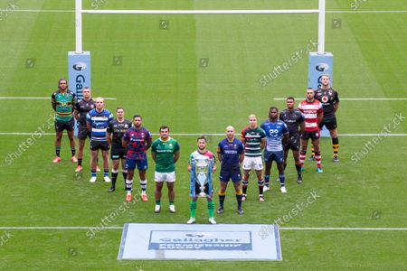 Gallagher Premiership Season Launch 2021-22 Season - Representative Players, alphabetically by club: Bath Rugby - Sam Underhill,  Bristol Bears - Charles Piutau, Exeter Chiefs - Henry Slade, Gloucester Rugby - Lewis Ludlow, Harlequins - Danny Care (Front, centre), Leicester Tigers - Jack van Poortvliet, London Irish - Agustin Creevy, Newcastle Falcons - Nathan Earle, Northampton Saints - Lewis Ludlam, Sale Sharks -  Marland Yarde, Saracens - Alex Goode, Wasps - Joe Launchbury, Worcester Warriors - Willi Heinz