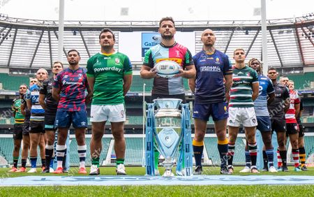 Gallagher Premiership Season Launch 2021-22 Season - Representative Players, alphabetically by club: Bath Rugby - Sam Underhill,  Bristol Bears - Charles Piutau, Exeter Chiefs - Henry Slade, Gloucester Rugby - Lewis Ludlow, Harlequins - Danny Care (front centre) , Leicester Tigers - Jack van Poortvliet, London Irish - Agustin Creevy, Newcastle Falcons - Nathan Earle, Northampton Saints - Lewis Ludlam, Sale Sharks -  Marland Yarde, Saracens - Alex Goode, Wasps - Joe Launchbury, Worcester Warriors - Willi Heinz