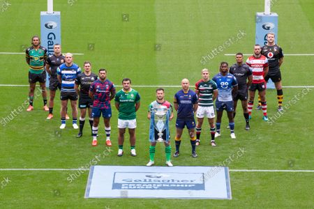 Stock Picture of Gallagher Premiership Season Launch 2021-22 Season - Representative Players, alphabetically by club: Bath Rugby - Sam Underhill,  Bristol Bears - Charles Piutau, Exeter Chiefs - Henry Slade, Gloucester Rugby - Lewis Ludlow, Harlequins - Danny Care (Front, centre), Leicester Tigers - Jack van Poortvliet, London Irish - Agustin Creevy, Newcastle Falcons - Nathan Earle, Northampton Saints - Lewis Ludlam, Sale Sharks -  Marland Yarde, Saracens - Alex Goode, Wasps - Joe Launchbury, Worcester Warriors - Willi Heinz