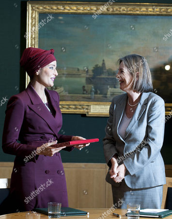Her Highness Sheikha Mozah Bint Nasser Al Missned , Chairperson of Qatar Foundation and Baroness Tessa Blackstone, Chairman of the British Library