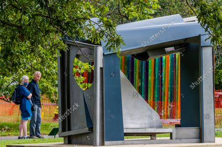 Stock Photo of Anthony Caro, Palanquin, 1987-91 - Final preparations for Frieze Sculpture, one of the largest outdoor exhibitions in London, including work by international artists in Regent's Park from 14th September.