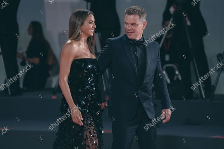 Luciana Damon and Matt Damon attend the red carpet of the movie 'The Last Duel' during the 78th Venice International Film Festival on September 10, 2021 in Venice, Italy.