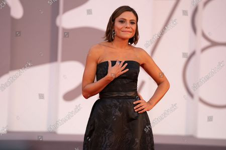 Antonia Truppo attends the red carpet of the movie 'Qui Rido Io' during the 78th Venice International Film Festival on September 07, 2021 in Venice, Italy