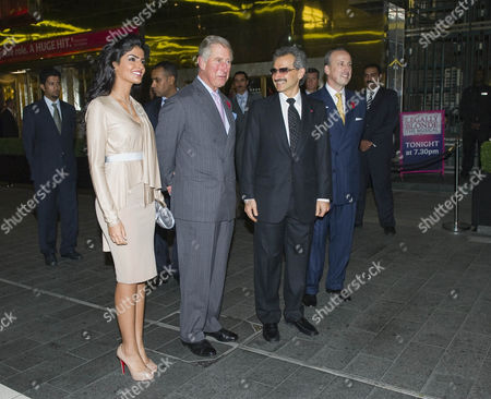 Prince Al-Waleed bin Talal and his wife Princess Amira of Saudi Arabia, Prince Charles and General Manager of The Savoy Kiaran MacDonald
