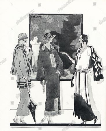 Three models wearing designs by Louise Chéruit: from left, a long straight suit with attached scarf and appliqués, an ankle-length twill coat with grey gazelle fur trimming, and a black and white crepe de chine evening gown paired with a black crepe de chine scarf appliquéd with white fur. One woman leans on an umbrella and one smokes a cigarette.