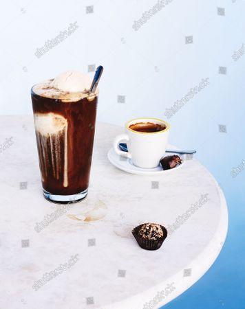 Ice cream float, espresso coffee, and chocolate bonbons.