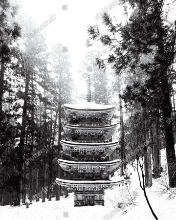 Mount Haguro's Goju-No-To pagoda in the snow covered forest of Tsuruoka, Japan.