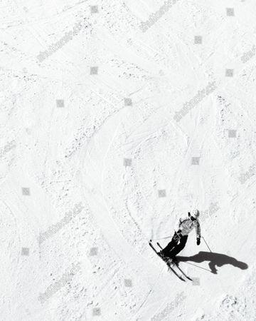 Skier on the slopes of the Grandeco Snow Resort in Kitashiobara, Japan.