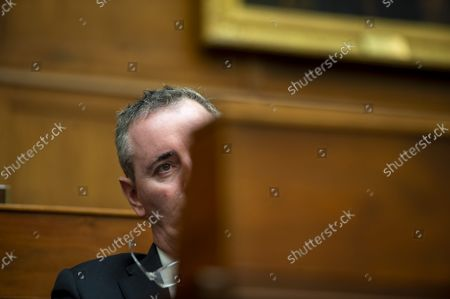 Stock Photo of Rep. Ryan Fitzpatrick, R-PA, looks on as Secretary of State Antony Blinken testifies virtually during a hearing on the U.S. withdrawal from Afghanistan at the US Capitol in Washington, DC., on Tuesday, September 13, 2021.