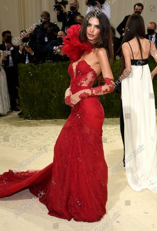 """Emily Ratajkowski attends The Metropolitan Museum of Art's Costume Institute benefit gala celebrating the opening of the """"In America: A Lexicon of Fashion"""" exhibition, in New York"""