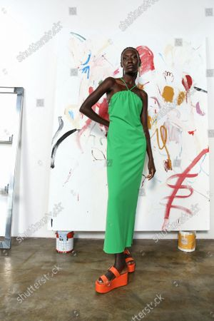 Model Wears an Outfit as Part of the Ready to Ready to Wear Summer 2022, New York, USA, from the House of Tanya Taylor