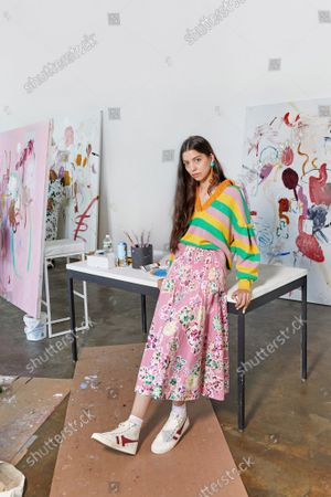 Stock Photo of Model Wears an Outfit as Part of the Ready to Ready to Wear Summer 2022, New York, USA, from the House of Tanya Taylor