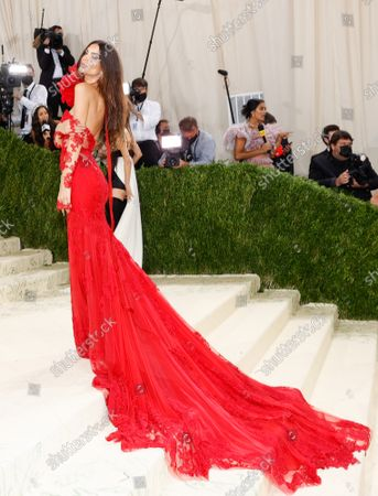 Emily Ratajkowski arrives for The Met Gala at The Metropolitan Museum of Art celebrating the opening of In America: A Lexicon of Fashion in New York City on Monday, September 13, 2021.
