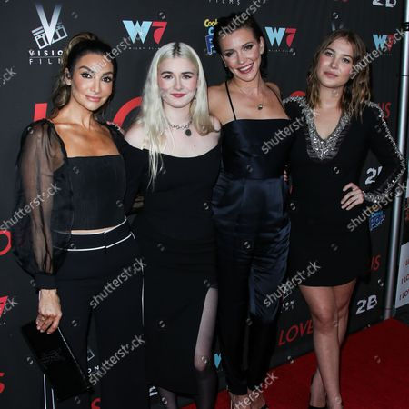 Actresses Courtney Laine Mazza, Harlow Olivia Calliope Jane, Katie Cassidy and Jasper Polish arrive at the Los Angeles Premiere Of Vision Films' 'I Love Us' held at the Harmony Gold Theater on September 13, 2021 in Hollywood, Los Angeles, California, United States.