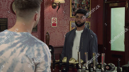 Stock Image of Coronation Street - Ep 10436 Wednesday 22nd September 2021 - 1st Ep  Zeedan Nazir, as played by Qasim Akhtar, apologises to Ryan Connor, as played by Ryan Prescott, for wrongly accusing him, revealing Alya still thinks a lot of him. Ryan's hopes are lifted.
