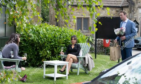 Stock Picture of Emmerdale - Ep 9164 Tuesday 28th September 2021 When Leyla Cavanagh, as played by Rokhsaneh Ghawam-Shahidi, sees Liam Cavanagh, as played by Jonny McPherson, putting flowers into the back of his car, she convinces Priya Sharma, as played by Fiona Wade, that they need to follow him.