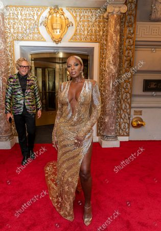 Mary J. Blige wearing dress by Peter Dundas departs The Pierre Hotel for Met Gala Celebrating In America: A Lexicon Of Fashion.