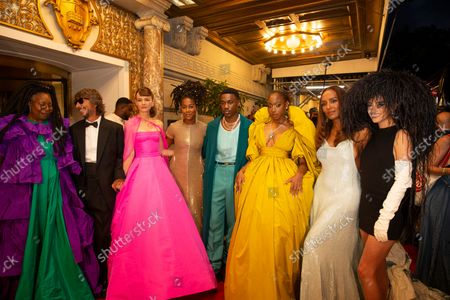 Stock Photo of Whoopi Goldberg, Pierpaolo Piccioli, Carey Mulligan, Tomi Adeyemi, Giveon, Normani, Janet Mock, Dixie D'Amelio depart The Pierre Hotel for Met Gala Celebrating In America: A Lexicon Of Fashion.