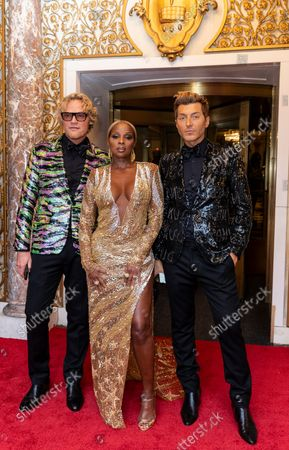 Peter Dundas, Mary J. Blige wearing dress by Peter Dundas and guest depart The Pierre Hotel for Met Gala Celebrating In America: A Lexicon Of Fashion.