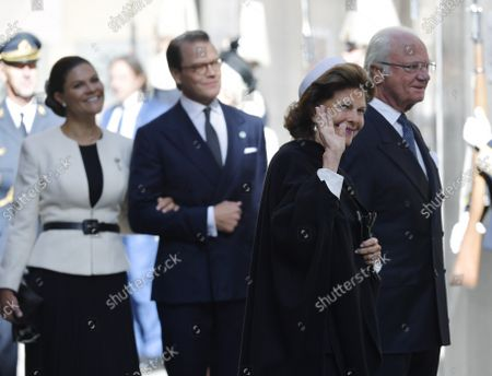 Stock Image of Crown Princess Victoria, Prince Daniel, Queen Silvia and King Carl Gustaf arrive at the church service in Stockholm Cathedral held before the Opening of the Parliamentary Session in Stockholm, Sweden, September 14, 2021.