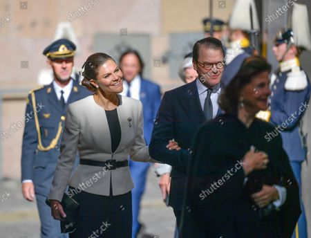 Stock Photo of Crown Princess Victoria, Prince Daniel, Queen Silvia arrive at the church service in Stockholm Cathedral held before the Opening of the Parliamentary Session in Stockholm, Sweden, September 14, 2021.