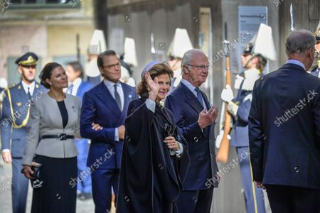 Crown Princess Victoria, Prince Daniel, Queen Silvia and King Carl Gustaf arrive at the church service in Stockholm Cathedral held before the Opening of the Parliamentary Session in Stockholm, Sweden, September 14, 2021.