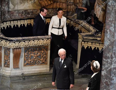 Crown Princess Victoria, Prince Daniel, King Carl Gustaf and Queen Silvia leaving the church service in Stockholm Cathedral held before the Opening of the Parliamentary Session in Stockholm, Sweden, September 14, 2021.