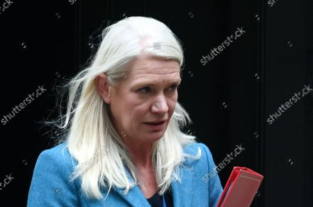 British Minister without Portfolio (Cabinet Office) Amanda Milling departs a cabinet meeting at 10 Downing Street in London, Britain, 14 September 2021. British Prime Minister Boris Johnson is set to outline his Covid Winter Plan during a press conference 14 September.