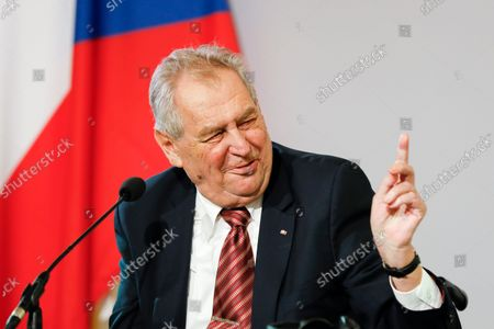 The President of the Czech Republic Milos Zeman addresses the media during a joint press conference after their meeting at the Hofburg palace with the Austrian President Alexander Van der Bellen in Vienna, Austria. Czech President Milos Zeman was hospitalized on Tuesday Sept. 14, 2021, while his predecessor Vaclav Klaus was undergoing tests in the same hospital