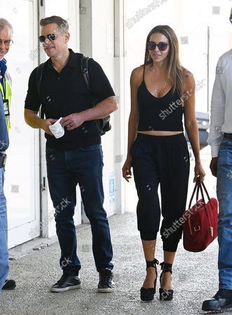 Matt Damon and Luciana Damon seen at Marco Polo airport