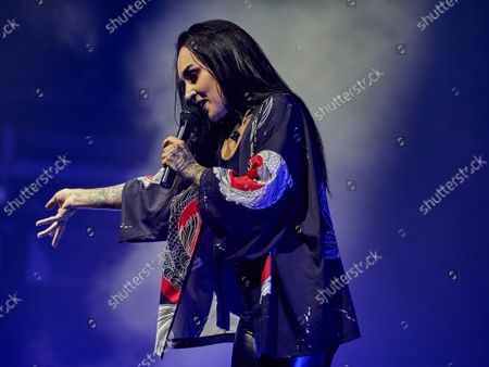 Stock Photo of Tatiana Shmaylyuk of Jinjer band performs live on stage at the 1930 Moscow.