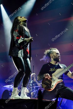 Tatiana Shmaylyuk of Jinjer band performs live on stage at the 1930 Moscow.