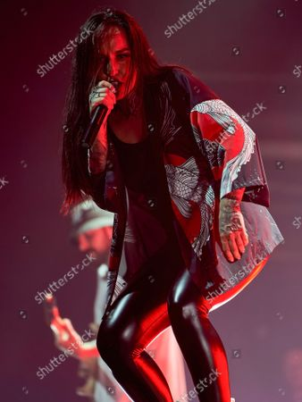 Stock Image of Tatiana Shmaylyuk of Jinjer band performs live on stage at the 1930 Moscow.
