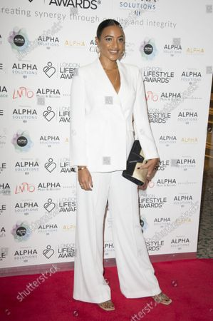Amal Fashanu, Arriving on the red carpet for Lifestyle Awards 2021, at the Landmark Hotel Marylebone, London.