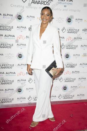 Stock Photo of Amal Fashanu, Arriving on the red carpet for Lifestyle Awards 2021, at the Landmark Hotel Marylebone, London.