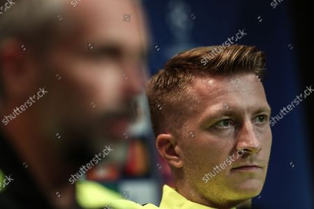 Borussia Dortmund player Marco Reus (R) attends a press conference before the training session at Besiktas Vodafone Park in Istanbul, Turkey, 14 September 2021. Borussia Dortmund will face Besiktas in their UEFA Champions League Group C soccer match on 15 September 2021.