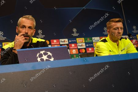 Stock Photo of Borussia Dortmund head coach Marco Rose (L) and Marco Reus attend (R) attend a press conference before the training session at Besiktas Vodafone Park in Istanbul, Turkey, 14 September 2021. Borussia Dortmund will face Besiktas in their UEFA Champions League Group C soccer match on 15 September 2021.